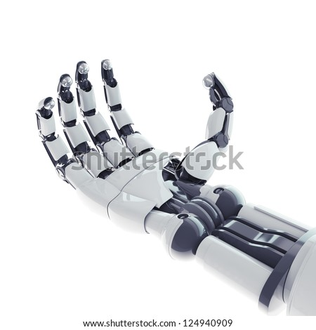 Isolated robotic arm on white background - stock photo