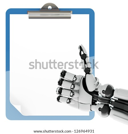 Isolated robotic arm showing thumbs up and paper pad holder on white background - stock photo