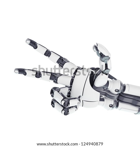 Isolated robotic arm showing victory on white background - stock photo