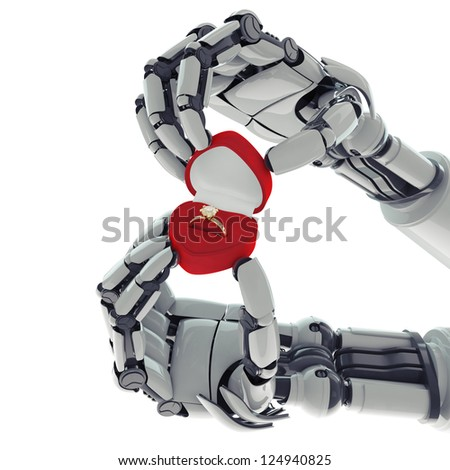 Isolated robotic arms with ring box on white background - stock photo