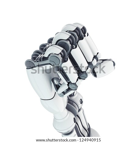 Isolated robotic fist on white background - stock photo