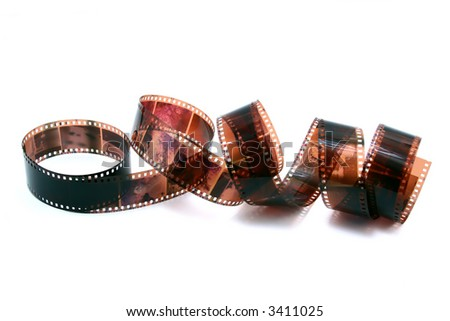 isolated role of 35 mm negative film - stock photo