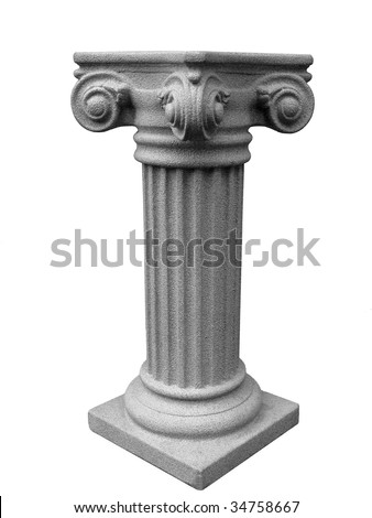 Isolated Roman Pedestal on white background - stock photo