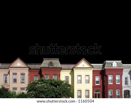 isolated row houses on black - stock photo