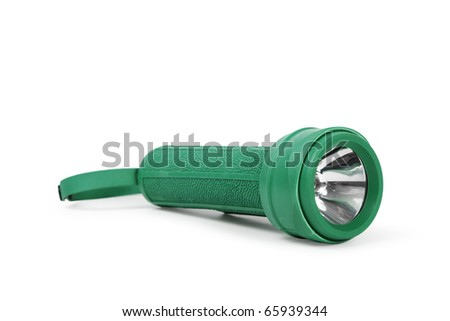 isolated rubber flashlight on a white background