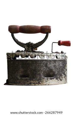 isolated rusty old iron - stock photo