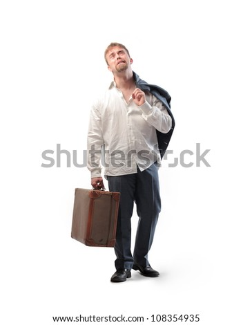 Isolated sad young businessman holding a suitcase - stock photo