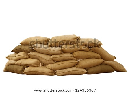 Isolated sandbags for flood defense or military use - stock photo