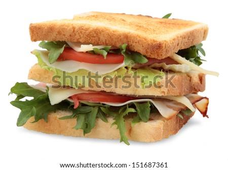 isolated sandwich - stock photo