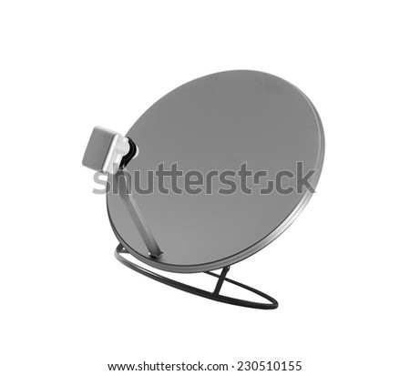 isolated satelite dish on white background - stock photo