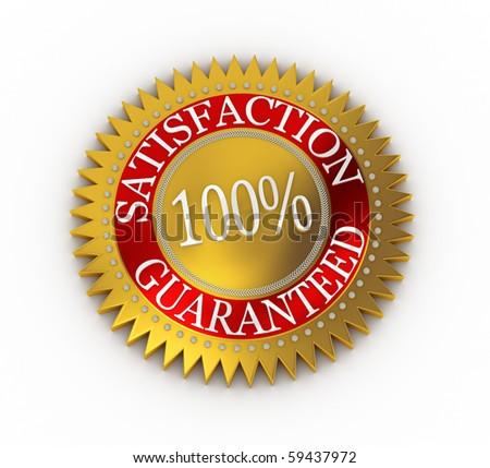 Isolated Satisfaction Guaranteed seal over white including clipping path - stock photo