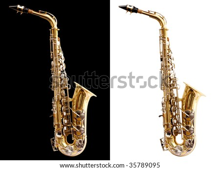 Isolated saxophone  on black and white for easy use - stock photo