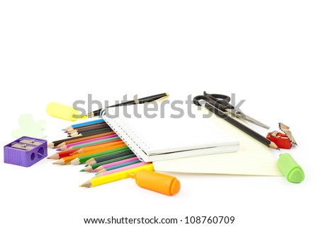 isolated school objects - stock photo