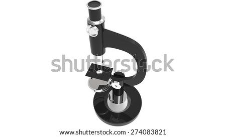 isolated science microscope 3d render - stock photo