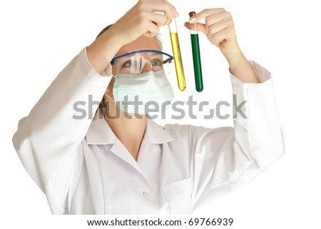 Isolated scientist woman in lab coat with chemical glassware - stock photo