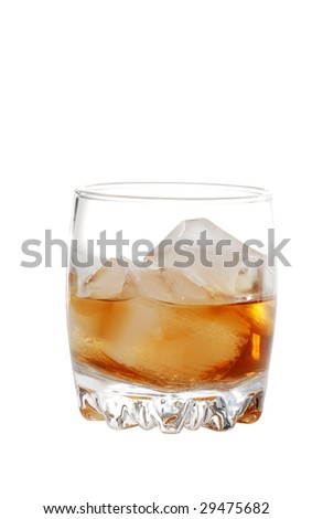 Isolated scotch on the rocks - stock photo