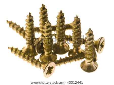isolated screws - stock photo