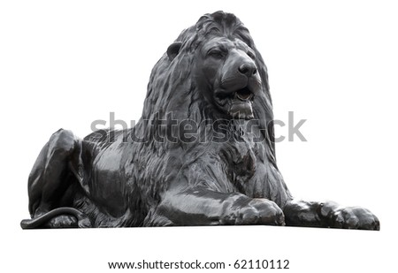 Isolated sculpture of a lion situated in Trafalgar Square, London - stock photo