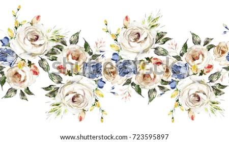 Isolated seamless border white flowers leaves stock illustration isolated seamless border with white flowers leaves vintage oil painting floral pattern with leaf mightylinksfo