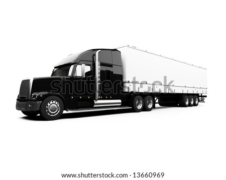 isolated semi truck against white