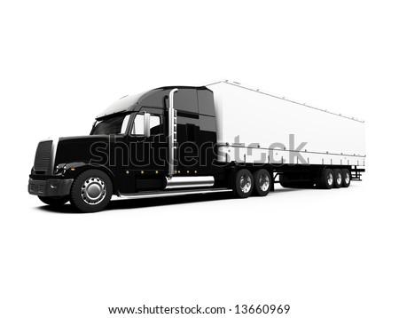 isolated semi truck against white - stock photo