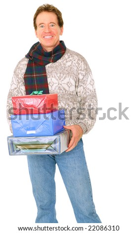 isolated senior male holding many gift or present for christmas or birthday