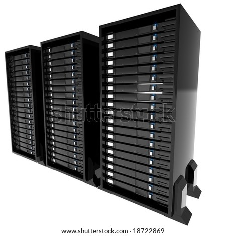 Isolated servers - stock photo