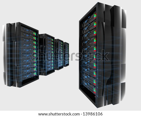 Isolated servers with blue wireframe - stock photo