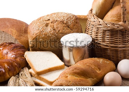 isolated set of bakery products - stock photo