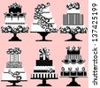 Isolated Set of Holiday Cakes, Raster Version - stock