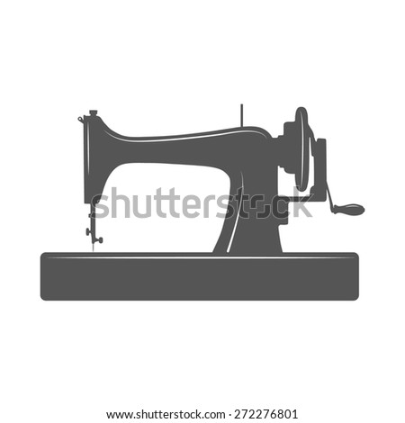 Isolated sewing machine. Design template for label, banner, badge, logo. - stock photo