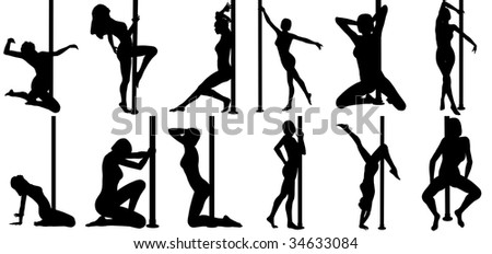 Isolated sexy black female poledancer silhouettes