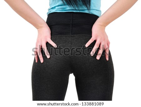 Isolated sexy woman back view - stock photo