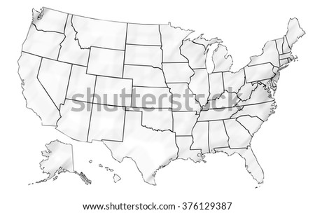 Isolated Shaded Political Usa Map United Stock Illustration - Drawing of usa map