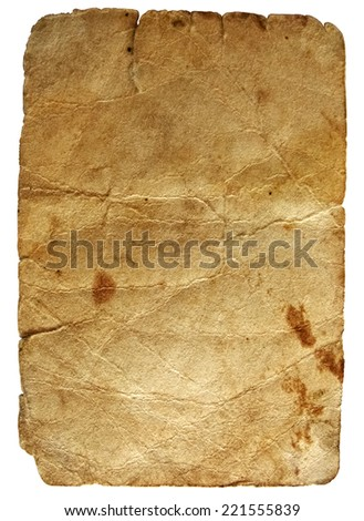 Isolated sheet of vintage paper with stains and grunge texture - stock photo