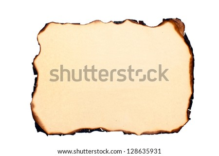 isolated sheet of yellowed burnt paper at white background. - stock photo