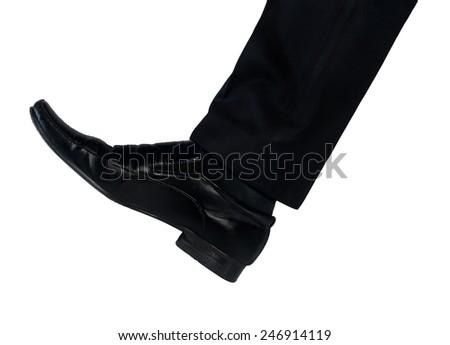 Isolated shoe feet hit something - stock photo
