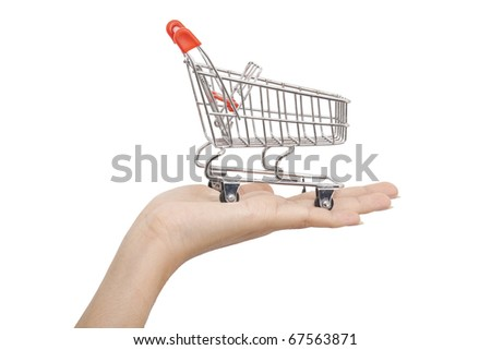 isolated: Shopping cart on hand
