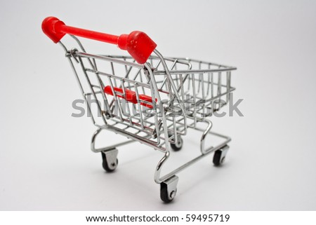 isolated shopping cart on the white