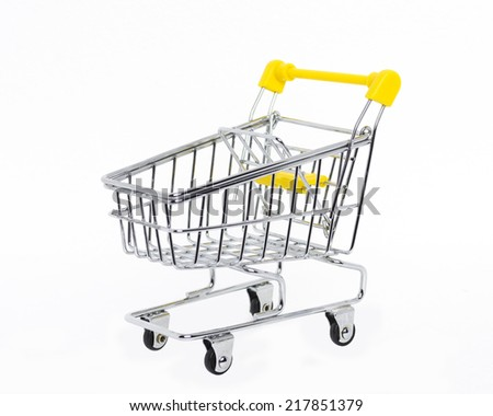 Isolated shopping cart on white