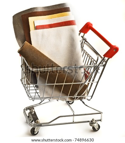 isolated shopping cart with textile