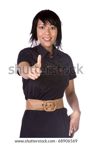 Isolated Shot of a Beautiful Asian - Hispanic Girl Giving the Thumbs Up - stock photo