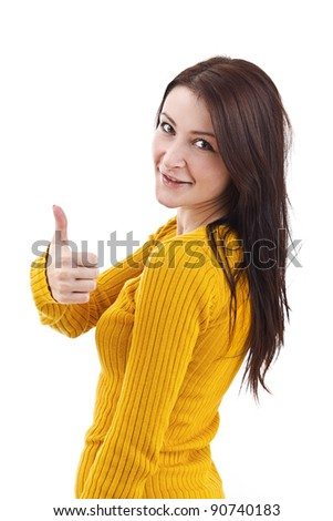 Isolated Shot of a Beautiful Girl Giving the Thumbs Up