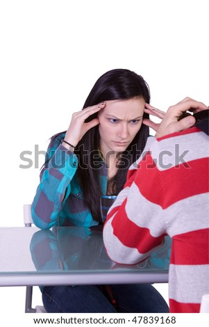 Isolated shot of a Couple Fighting on their Date - stock photo