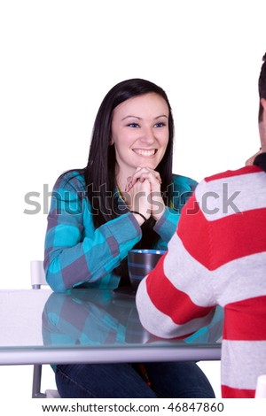 Isolated shot of a Couple on a Date - Girl Smiling