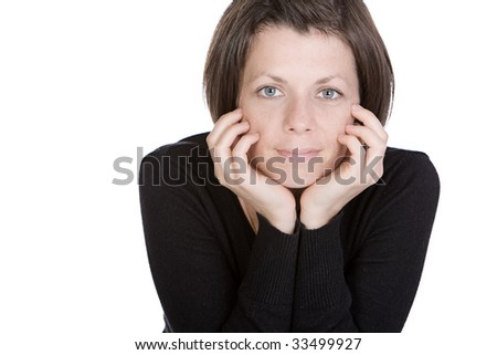 Isolated Shot of a Cute Brunette Lady Smiling at the Camera