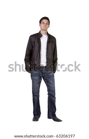 Isolated Shot of a Good Looking young man standing up - stock photo