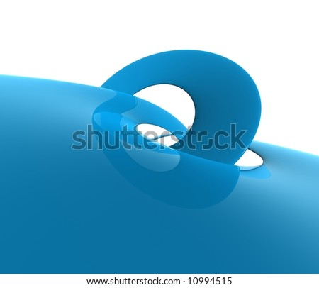 Isolated shot of a red plastic wave - 	 ideal subject for your project of design, the plastic is polishes and reflecting