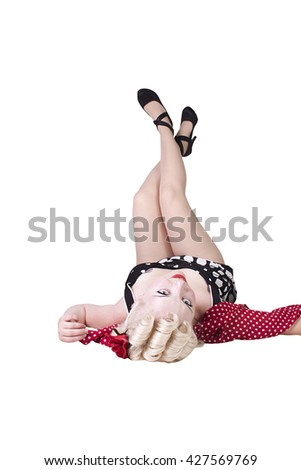 Isolated shot of a Sexy Retro Woman - Pin up Model - stock photo