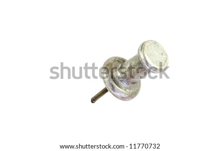 Isolated shot of a silver thumbtack on a white background. - stock photo